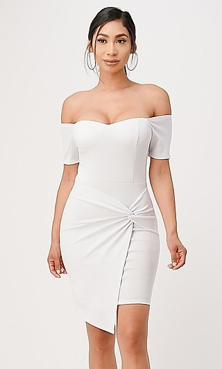 Off-the-Shoulder Short Cocktail Dress with Twist