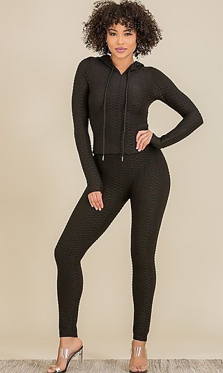 Textured Hooded Top & Matching High-Waisted Leggings