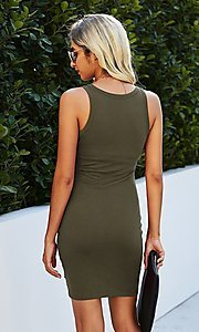 Image of casual day-to-night short sleeveless dress. Style: LAS-MVT-21-LQ322S4271 Detail Image 2