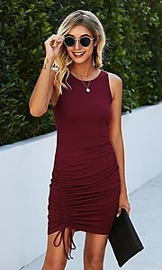 Image of casual day-to-night short sleeveless dress. Style: LAS-MVT-21-LQ322S4271 Front Image