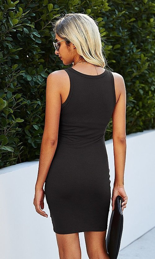 Image of casual day-to-night short sleeveless dress. Style: LAS-MVT-21-LQ322S4271 Detail Image 4