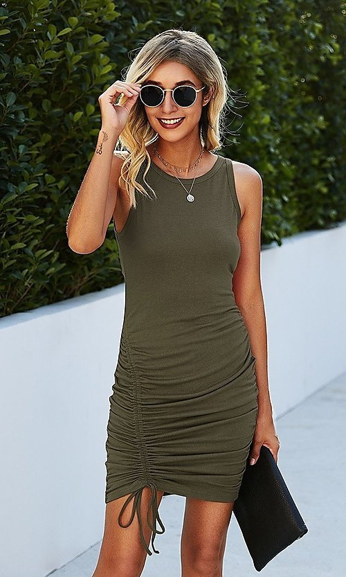 Image of casual day-to-night short sleeveless dress. Style: LAS-MVT-21-LQ322S4271 Detail Image 1