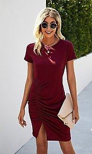 Image of day-to-night short sleeve casual ruched dress. Style: LAS-MVT-21-LQ323S5247 Front Image
