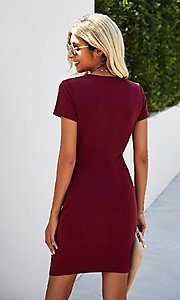 Image of day-to-night short sleeve casual ruched dress. Style: LAS-MVT-21-LQ323S5247 Back Image