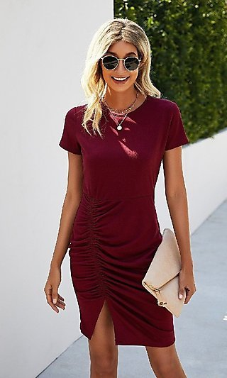 Day-to-Night Short Casual Ruched Dress