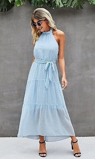 Swiss Dot Casual Midi Dress with High-Neck Halter