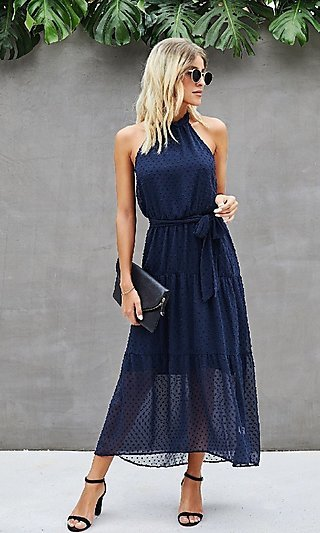 Polka Dot High-Neck Halter Casual Midi Dress