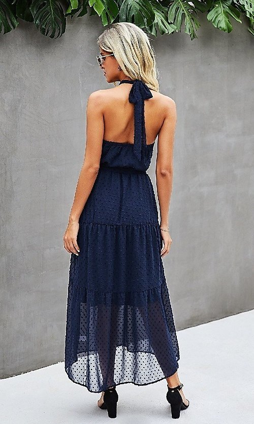 Image of Swiss dot casual midi dress with high-neck halter. Style: LAS-MVT-21-LQ323S6190 Back Image