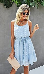 Image of Swiss dot short casual summer party dress. Style: LAS-MVT-21-LQ323S6199 Detail Image 1