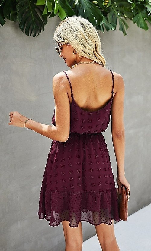 Image of Swiss dot short casual summer party dress. Style: LAS-MVT-21-LQ323S6199 Detail Image 4