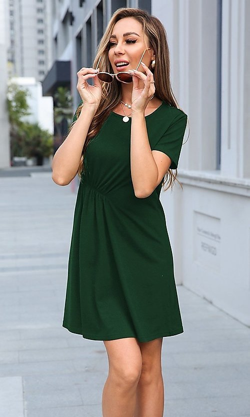 Image of casual short sleeve short career dress. Style: LAS-MVT-21-XHAM2273A Front Image