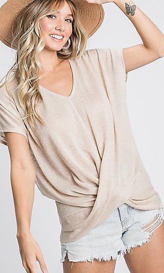 Sand-Colored Short Sleeve V-Neck Ladies Top