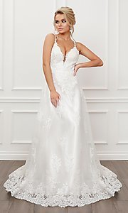 Image of lace-applique white long formal ball gown. Style: NA-21-C461 Front Image