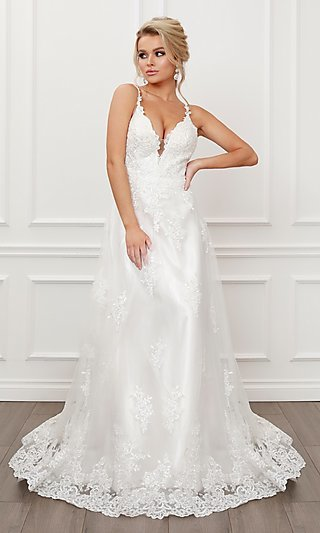 Side Cut-Out Formal White Lace Ball Gown