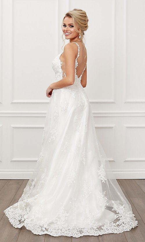 Image of lace-applique white long formal ball gown. Style: NA-21-C461 Back Image