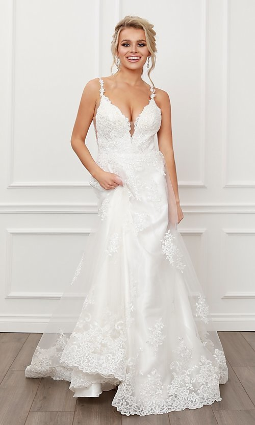 Image of lace-applique white long formal ball gown. Style: NA-21-C461 Detail Image 1