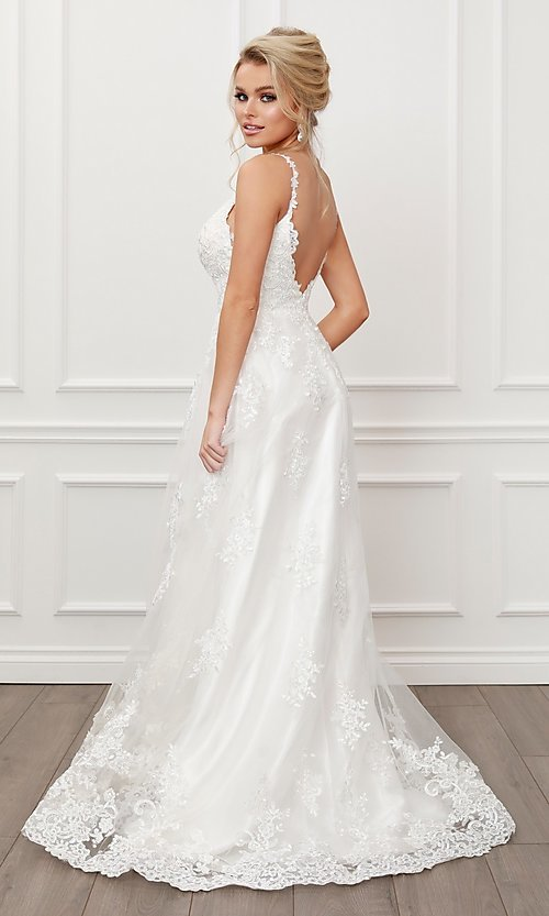 Image of lace-applique white long formal ball gown. Style: NA-21-C461 Detail Image 2