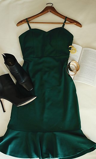 Simple and Classic Dark Green Wedding Guest Dress