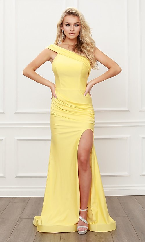 Image of long satin one-shoulder classic formal prom dress. Style: NA-21-E440 Front Image