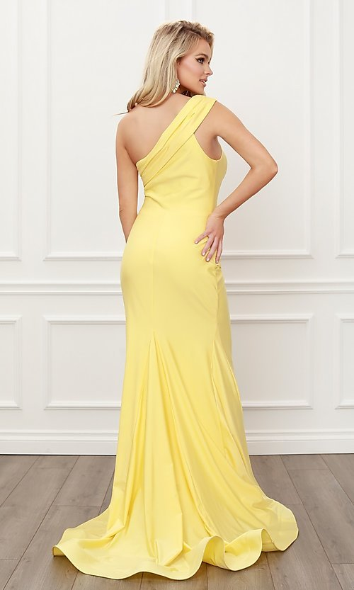 Image of long satin one-shoulder classic formal prom dress. Style: NA-21-E440 Back Image