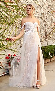 Image of off-the-shoulder white long lace formal evening gown. Style: NA-21-E441 Detail Image 1
