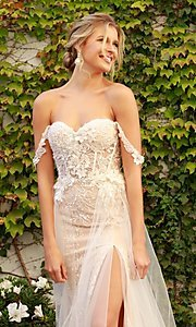 Image of off-the-shoulder white long lace formal evening gown. Style: NA-21-E441 Detail Image 2