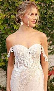 Image of off-the-shoulder white long lace formal evening gown. Style: NA-21-E441 Detail Image 4