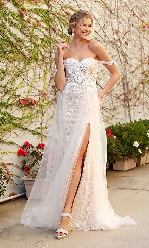 Image of off-the-shoulder white long lace formal evening gown. Style: NA-21-E441 Front Image