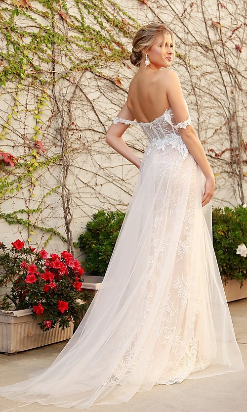 Image of off-the-shoulder white long lace formal evening gown. Style: NA-21-E441 Back Image