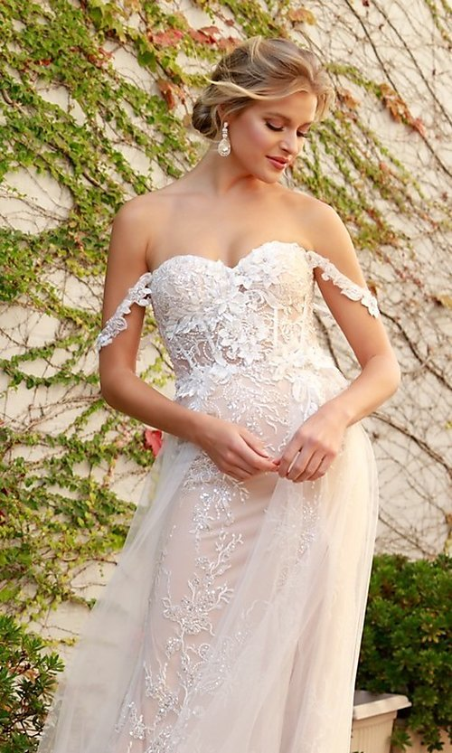 Image of off-the-shoulder white long lace formal evening gown. Style: NA-21-E441 Detail Image 3