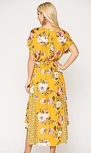 Image of high-low mix-match print casual short sleeve dress. Style: LAS-GIG-21-TC1703 Back Image