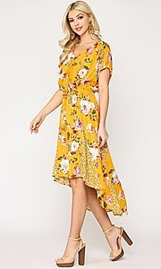Image of high-low mix-match print casual short sleeve dress. Style: LAS-GIG-21-TC1703 Detail Image 1