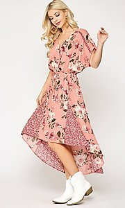 Image of high-low mix-match print casual short sleeve dress. Style: LAS-GIG-21-TC1703 Detail Image 3