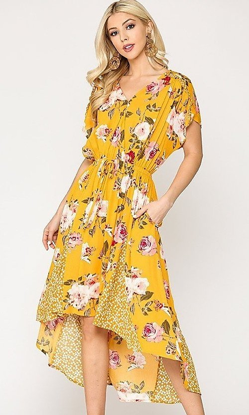 Image of high-low mix-match print casual short sleeve dress. Style: LAS-GIG-21-TC1703 Front Image