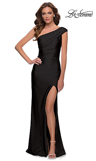 Sleek One Shoulder Long Jersey Prom Gown 29619