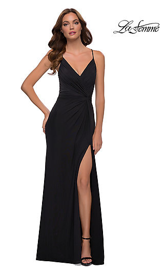 Ruched Front Knot Long Lace-Up La Femme Prom Gown