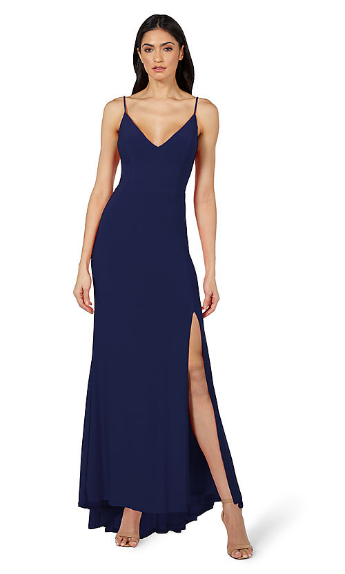 Image of classic long simple formal dress by Jump. Style: JU-21-11001 Detail Image 1