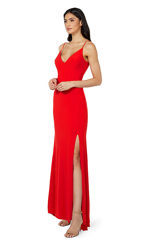 Image of classic long simple formal dress by Jump. Style: JU-21-11001 Detail Image 4