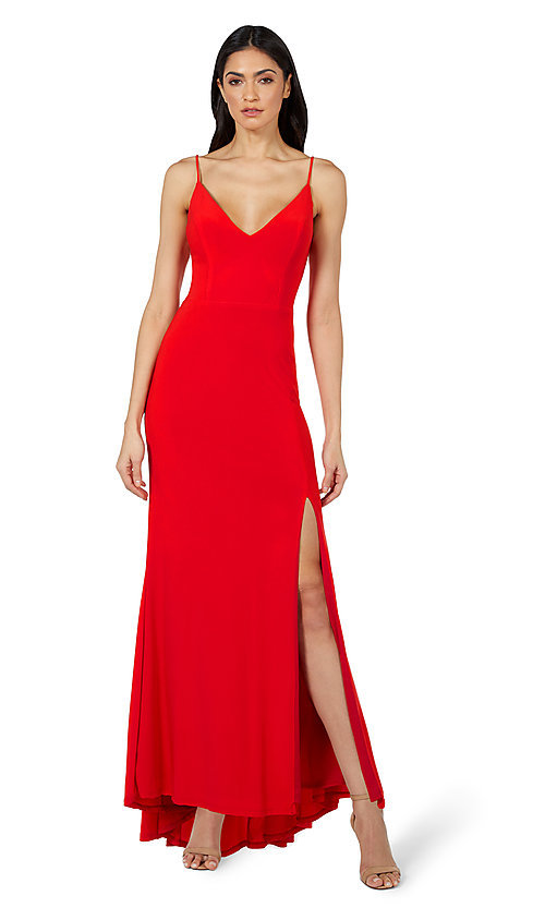 Image of classic long simple formal dress by Jump. Style: JU-21-11001 Front Image
