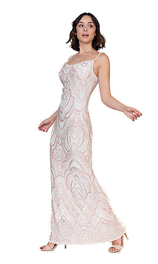 Cowl-Neck Gold Beaded White Formal Gown by Jump