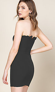 Image of ruffle-trim short strapless casual bodycon dress. Style: LAS-CAP-21-ED10530 Detail Image 2