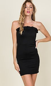 Image of ruffle-trim short strapless casual bodycon dress. Style: LAS-CAP-21-ED10530 Detail Image 1