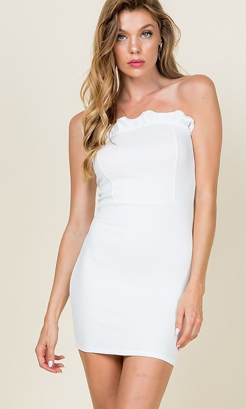 Image of ruffle-trim short strapless casual bodycon dress. Style: LAS-CAP-21-ED10530 Front Image