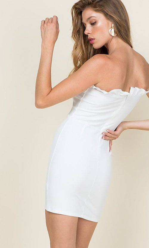 Image of ruffle-trim short strapless casual bodycon dress. Style: LAS-CAP-21-ED10530 Back Image