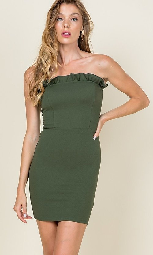 Image of ruffle-trim short strapless casual bodycon dress. Style: LAS-CAP-21-ED10530 Detail Image 3