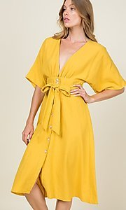Image of a-line button-down knee length casual party dress. Style: LAS-CAP-21-ED10630 Detail Image 4