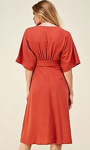 Image of a-line button-down knee length casual party dress. Style: LAS-CAP-21-ED10630 Back Image
