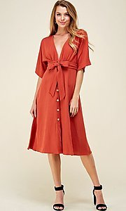 Image of a-line button-down knee length casual party dress. Style: LAS-CAP-21-ED10630 Detail Image 3