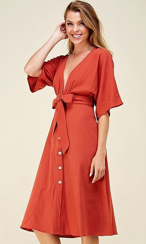 Image of a-line button-down knee length casual party dress. Style: LAS-CAP-21-ED10630 Front Image