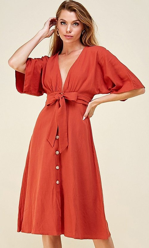 Image of a-line button-down knee length casual party dress. Style: LAS-CAP-21-ED10630 Detail Image 2